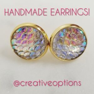 Jewelry - ✴3 for $15 Iridescent Mermaid Scale GOLD Earrings